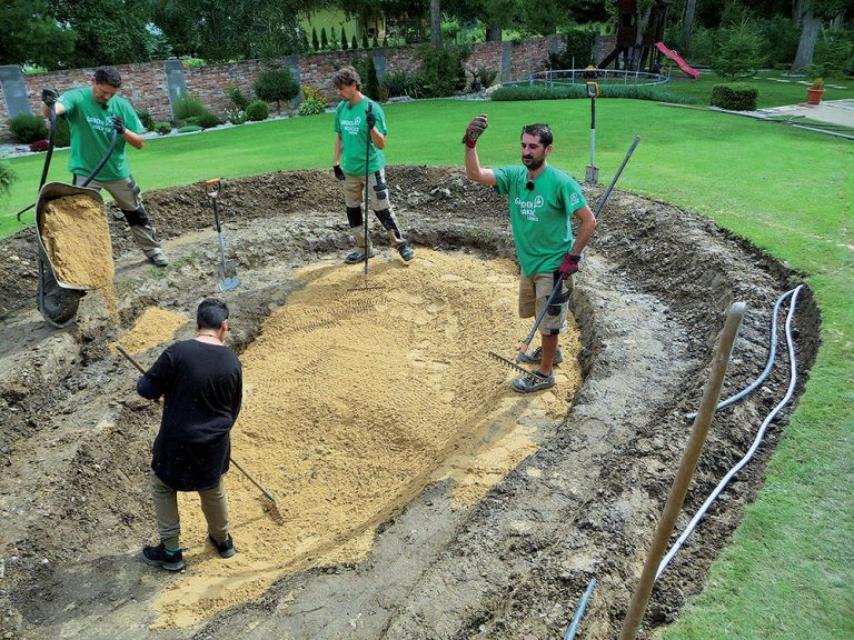 Postup výstavby jazierka