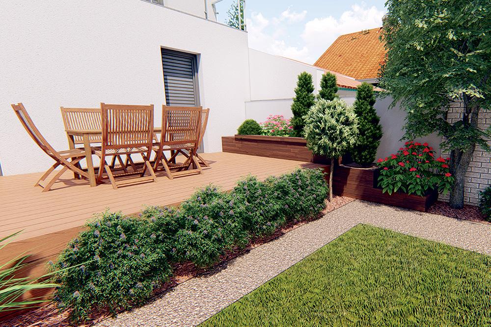 Vyvýšený záhon pri plote vedľa terasy