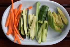 Zelenina pokrájaná na plátky