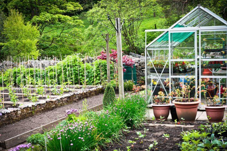 Krásna záhrada so skleníkom