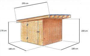 Okótovaná schéma záhradného domčeka