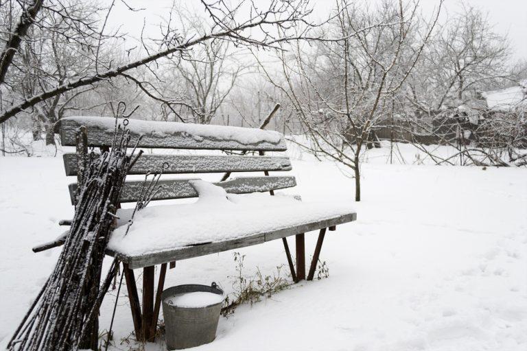 Zasnežená lavička v záhrade