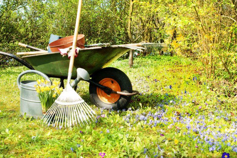 Fúrik, hrable a záhradné náradie v jarnej záhrade