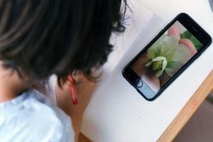 Dieťa kreslí kvet hrachu, odkresľuje z mobilu