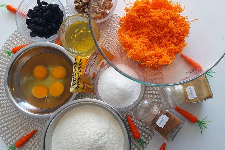Suroviny na prípravu mrkvového koláča