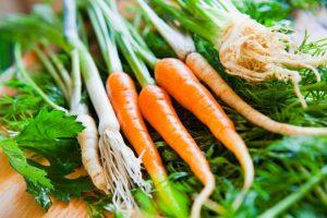 Čerstvá koreňová zelenina, mrkva, petržlen, zeler, cibuľka