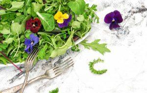 Jedlé kvety v šaláte